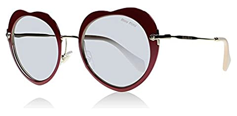 Miu Miu USS2B0 Red 54Rs Round Sunglasses Lens Category 0 Lens Mirrored