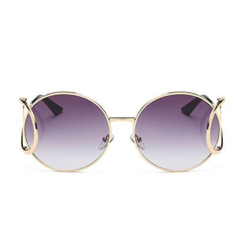 CCGKWW Übergroße Runde Sonnenbrille Mit Farbverlauf Frauen Männer Modemarkendesigner Vintage Klarglas Mädchen Weiblich Big Frame Shades