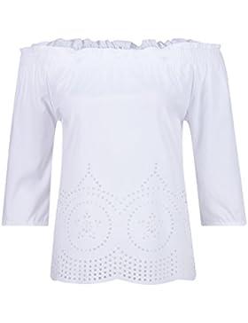 Beauty7 ES 44 Camisas Mujeres Algodon Sin Tirante Hueco Florales Mangas Sueltas Camiseta Off Hombro Vestido Verano...