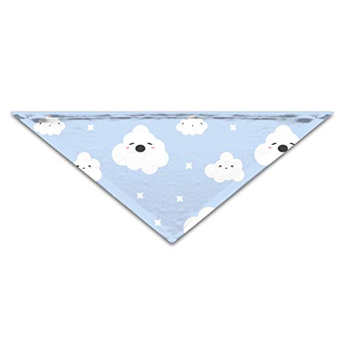 Cartoon White Clouds Stars Turban Triangle Scarf Bib Scarf Accessories Pet Cat and Baby Puppy Saliva Dog Towel (White Cat Kostüm Baby)