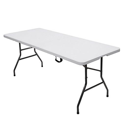 SONGMICS 180 x 75 x 74 cm Klapptisch Tisch klappbar weiß GPT01WT