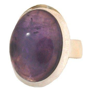 Ring aus 925er Silber verstellbar mit ovalem Amethyst