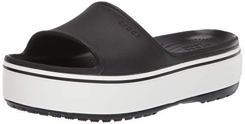 Crocs crocband platform slide u, scarpe da spiaggia e piscina unisex-adulto, nero (black/white 066b), 34/35 eu