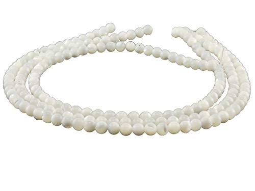 Perlmutt Stränge - rund 6 mm weiß schimmernd, 3er Pack -