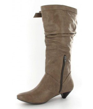 Chaussure Bas Prix - Bottes femme Taupe CL-4003-5 - CL-4003-5 Taupe