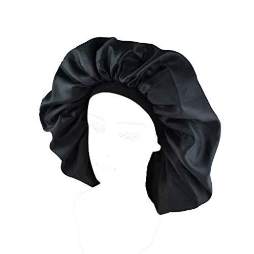 Xuniu Double Layer Womens Schlafmütze zum Schlafen, Haarausfall 50cm-60cm (19.68in-23.62in) Schwarz Layer-satin