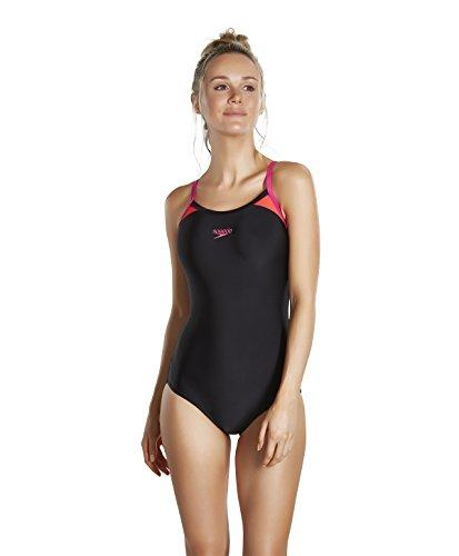 speedo-womens-splice-thinstrap-racerback-swimsuit-black-electric-pink-lava-red-42