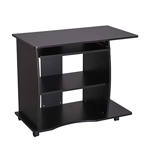 VASAGLE Bureau mobile, Table informatique avec Roulettes, Table d'ordinateur avec Support Clavier Coulissant, Montage simple, Stable, pour la maison et le bureau, Noir LCD751B