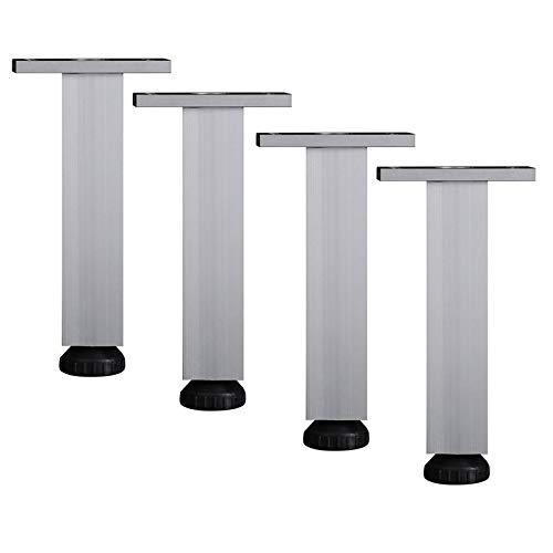 Furniture legs YHPD Möbelbeine aus Metall, verstellbare Möbelbeine Tea Tischbeine 4 Sätze quadratische Aluminiumbeine, Stützbeinbeschläge, Silber, tragend 400 kg, Höhe 6 bis 40 cm - Quadratische Metall-tischbeine