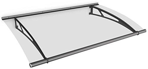 Schulte Vordach Haustür Überdachung 150x95 cm Acrylglas Klar Stahl Anthrazit Pultvordach LT-Line