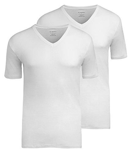 JOCKEY Herren Shirt / Unterhemd mit 1/4 Arm 2er Pack V-Neck - Modern Classic 1850 - 100% Baumwolle, Farbe Weiss, Schwarz, Gr. S-6XL, Gr. M, Weiss Verkauf Jockey Unterwäsche