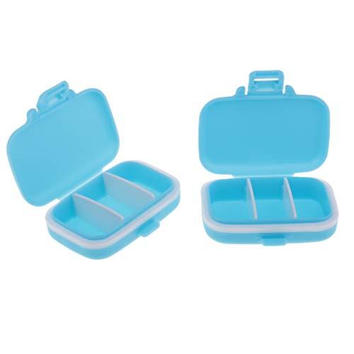 D DOLITY 2 Stück Pillenbox Organizer, Klein Einfach Pillendose Vitamin Caddy Tablettenbox mit 3 Fächer für Reise/Urlaub/ Outdoor Sport - Blau