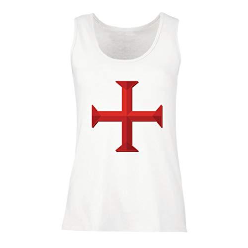 lepni.me Damen Tank-Top Die Tempelritter Rotes Kreuz Arme Mitmenschen-Soldaten Christi (Medium Weiß Mehrfarben)