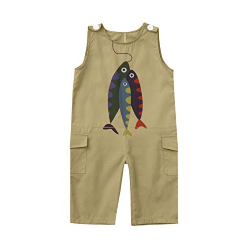 LSAltd Sommer Kleinkind Baby Jungen mädchen schöne Cartoon Fisch Druck ärmellose Tasche Bequeme baumwollspielanzug Overall
