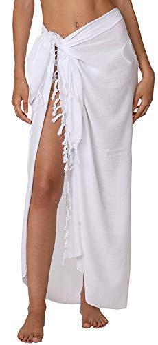 Ingear Badeanzug für Damen, lang, Batik-Sarong, Pareo, mit Kokosnussschale - weiß - Einheitsgröße -