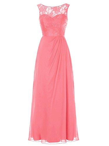 Carnivalprom Damen Elegant Abendkleider Spitze MaxiKleid Partykleider Festkleider für Hochzeit Brautjungfer Kleider Koralle