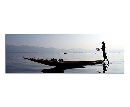 Panoramabild auf Leinwand und Keilrahmen 150x50cm Myanmar Wasser Fischerboot Fischer Silhouette (Fischer Silhouette)