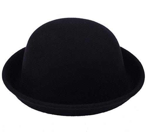 Bigood Lieb Rund Hut modisch Mütze Wolle One Size Unisex Schwarz