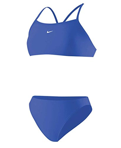 Nike 93173 Womens Nylon Core Solid Sport Top 2 Piece Bleu roi