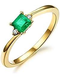 436d4762ec13 HSUMING Simple Encanto 18K Oro Amarillo Natural Esmeralda Anillo de Diamante  para Las Mujeres Aniversario de