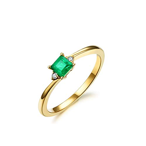 18K Yellow Gold Natural Emerald Diamond Ring for Women Anniversary Valentine es Day, Gift for Her ()
