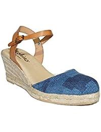 5157a17375d64 MOHINO - Espardeña Cuña Tejana 20329-3089 Sandalias Valencianas para Mujer  en Piel Esparto Confort Roja Azul…