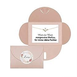 Lillyville - Brautmutter Geschenk mit Anker Armband Gold und Karte - Heute eine Braut, Morgen Ehefrau - Hochzeit Armkette - Umschlag Rose