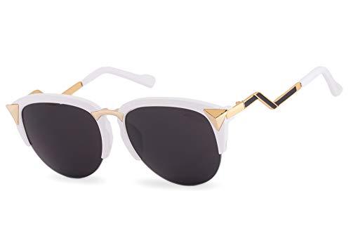Romens Ltd Damen Sonnenbrille Runden Spiegelglas Cat Eyes Style Sunglasses Brille UV400 (White Star)