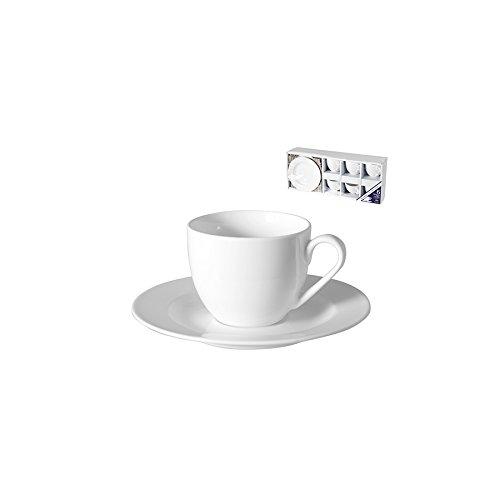 Royal norfolk 9152000 conf. 6 tazzine caffè new bone china con piatto cc90 arredo tavola, avorio