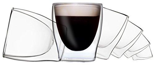 DUOS 6X 80ml doppelwandige Gläser, Espressogläser, Thermogläser - Set mit Schwebe-Effekt, auch für türkischen Tee geeignet, by Feelino ...