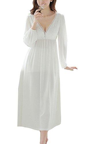 Cheerlife Damen Nachthemd Baumwolle Langarm V-Ausschnitt Spitze Nachtkleid Schlafkleid Nachtwäsche Lang Vintage L Weiß -