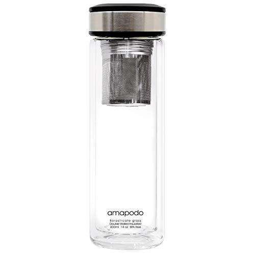 amapodo Teebereiter Teekanne - Teeflasche doppelwandig - Edelstahl Teesieb & Deckel - Design Glas mit Sieb für losen Tee