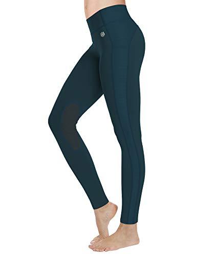 FitsT4 Reithose REIT-Leggings für Damen Mädchen mit Kniebesatz und Innentasche - Atmungsaktiv 4-Wege-Stretch - für Reitschule Reitsport - in Schwarz, Blau, Grau, Braun oder Beige - Größe xs - XL