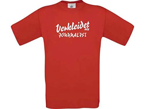 Shirtinstyle T-Shirt Karneval Verkleidet als Journalist Verkleidung Farbe rot, Größe XXL
