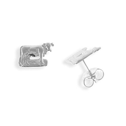 Echt Sterling Silber 925 Ohrstecker Kuh (Art.811031) (Sterling Silber Kuh-ohrringe)
