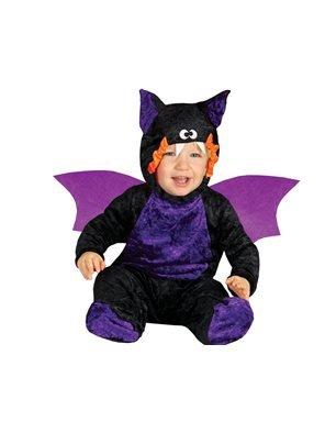 Guirca- Costume Pipistrello Vampiro Bimbo Neonato, 0/12 Mesi, Colore Nero e Viola, 0-12, 85535