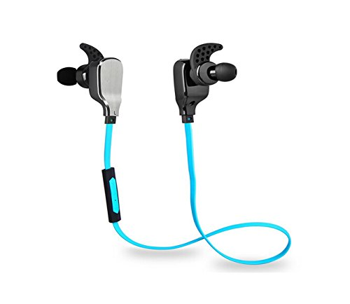 HEAD X - H901 Bluetooth Headphones Wireless Stereo Sports Headset with Microphone, Noise Canceling In-ear Earbuds, Noodle Wire Earphones for Tangle Free, for iPhone iPad Samsung Android Device (Blue)