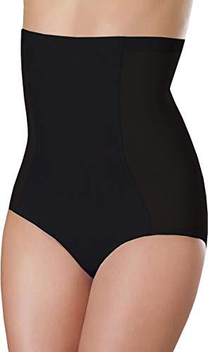 Bauchweg Unterwäsche Damen Miederslip mit Bauch-Weg-Effekt Shapewear Stark Formend Miederhose Slip Hochzeitsdessous (L, Schwarz)