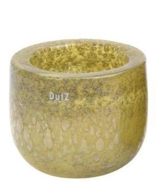 Dutz Collection | Thick Mustard Bubbles Deko Glas Vase H 16 cm D 18 cm Sommer Grün Glastopf Windlicht Übertopf | Mundgeblasen Dickwandig | Tischdeko Sommerdeko - D 18 Grün