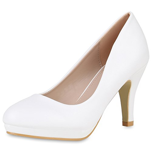 SCARPE VITA Klassische Damen Pumps Stiletto High Heels Elegante Party Schuhe 162409 Weiss White 39 White High Heel-schuhe