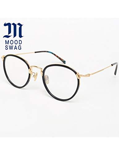 MOMOQU Sun Glasses Reine Titan Handgemachte Platte Kreisförmigen Rahmen Auge, Weibliche Retro-Literatur Und Kunst Full Frame Eye Frame, Männliches Gesicht, Schwarz