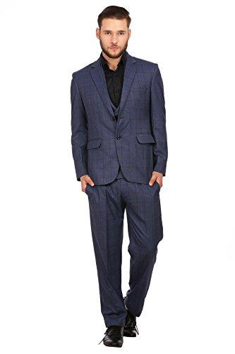 Wintage Men's PV Merino Wool Blend Notch Lapel 3-Piece Suit: Blue