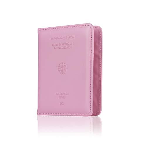 CALIPSO Reisepasshülle - Designer Travel Wallet für den Reisepass - Praktischer Passport Cover mit Zwei separaten Fächern für Impfpässe & Co. - Organizer Hülle | Reiseorganizer | Etui (Rosa)