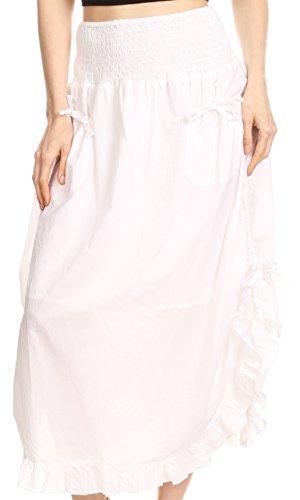 (Sakkas 3118 - Coco Lange Baumwoll Rüschen Rock mit Taschen und elastischer Bund - Weiß - OS)