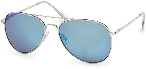 styleBREAKER Sonnenbrille verspiegelt, Pilotenbrille getönt mit Federscharnier, Unisex 09020037, Farbe:Gestell Silber/Glas Blau