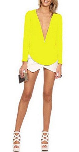 Smile YKK Sexy Tief Kragen Damenbluse Schluppenbluse Sweatshirt Oberteil Tunika T-Shirt Gelb