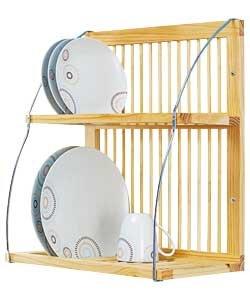 Abtropfgestell Fr Teller Und Tassen Wandmontiert Metall Holz H X B X T 515 X 46 X 26 Fr Bis Zu 28 Teller