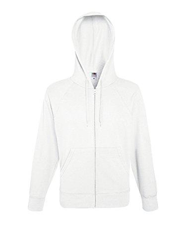 Felpa leggera con cappuccio e zip uomo maglia tuta da ginnastica cotone sgarzato fruit of the loom , colore: bianco, taglia: l