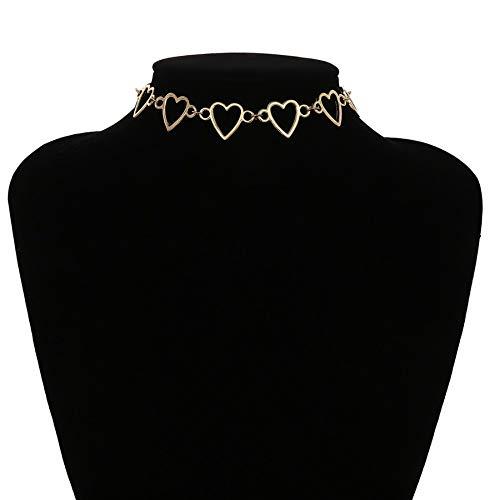 ZUXIANWANG Halskette Cute Heart Necklace Halskette Halsband verstellbar Gold Kleidung Mode Frauen Cute'S Geschenke Frauen Zubehör