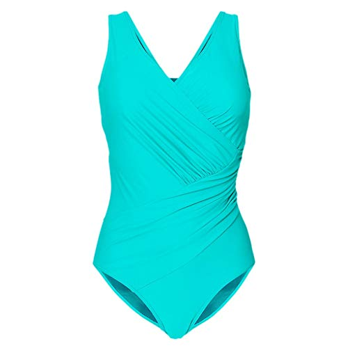 Asalinao Einteiliger Badeanzug der Frauen-Punkt-Punkt einfarbiger rückenfreier V-Ausschnitt der Frauen